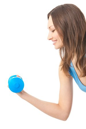 Young happy woman doing exercises with dumbbell, isolated on white photo