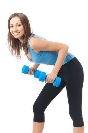 Young happy woman doing exercises with dumbbells, isolated on white photo