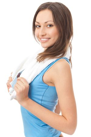 20 25: Photo of woman in sportswear with towel, isolated on white