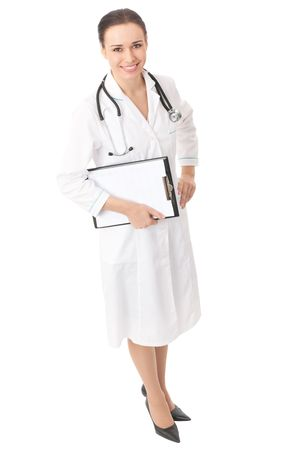 Full body portrait of doctor with clipboard, isolated on white photo