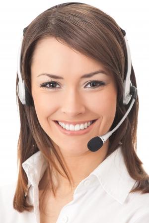 Apoyo en operador de telefonía manos libres, aisladas en blanco