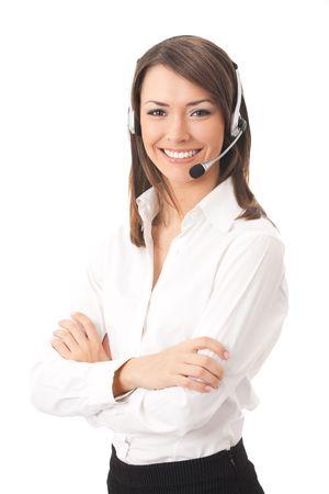 Support de téléphone opérateur casque, isolé sur blanc