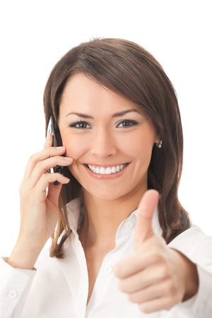 Happy businesswoman with phone and thumbs up gesture, isolated Stock Photo