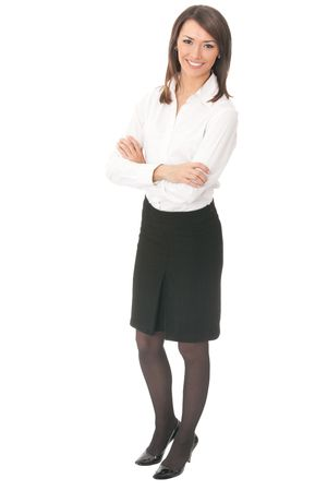 20 25: Full body portrait of young businesswoman, isolated on white