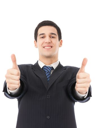 Happy businessman with thumbs up gesture, isolated on white Stock Photo - 5069783
