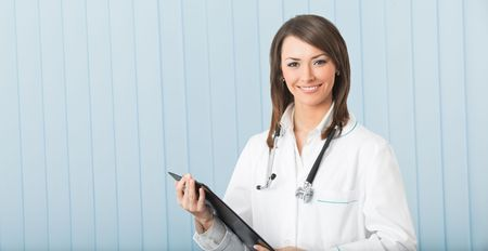 Happy doctor or nurse with clipboard at office. To provide maximum quality, I have made this image by combination of two photos. Stock Photo - 5147676