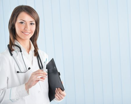 Happy doctor or nurse with syringe and clipboard at office. To provide maximum quality, I have made this image by combination of two photos. Stock Photo - 5147678