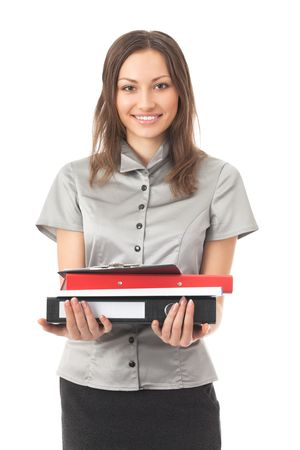 Portrait of smiling busy businesswoman with folders, isolated on white photo