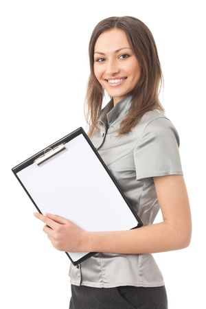 Happy businesswoman with clipboard, isolated on white photo