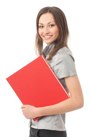 Portrait of smiling busy businesswoman with folder, isolated on white photo