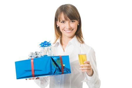 Young smiling businesswoman with gifts and champagne, isolated on white photo