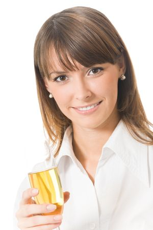 Portrait of businesswoman with glass of champagne, isolated on white photo