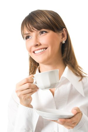 Happy businesswoman with cup of coffee, isolated on white photo
