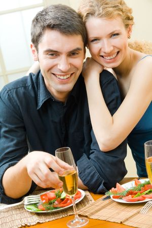 Young couple celebrating with champagne at home Stock Photo - 5675740