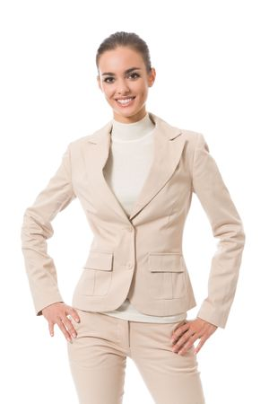 Portrait of young happy businesswoman, isolated on white photo