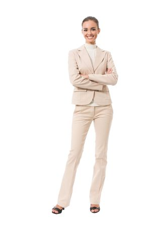 Full-body portrait of happy businesswoman, isolated on white photo
