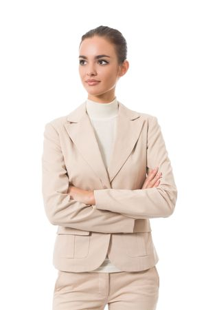 Portrait of young businesswoman, isolated on white photo