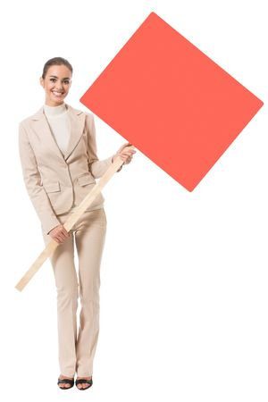 Young businesswoman showing red signboard, isolated on white photo