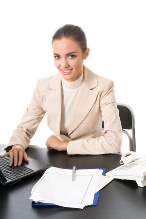 Businesswoman working with document at office, isolated on white photo