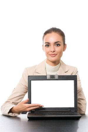 businesswoman with laptop, isolated on white photo