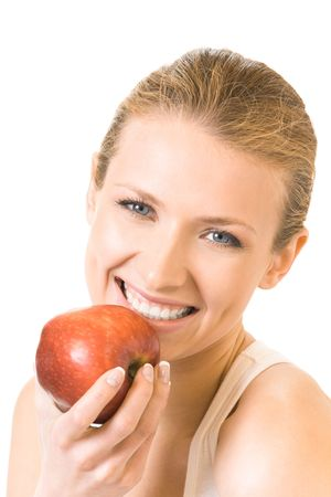 Young happy smiling woman with apple, isolated on white photo