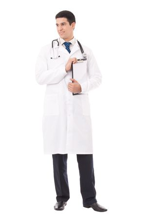 Full body portrait of doctor with clipboard, isolated on white