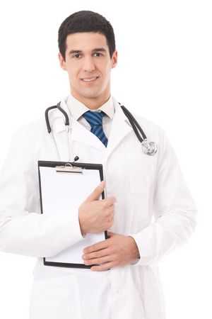 Happy doctor with clipboard, isolated on white photo