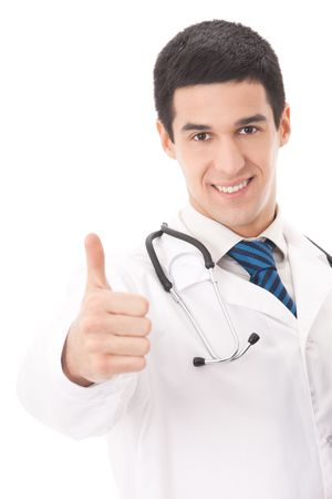 Happy doctor with thumbs up gesture, isolated on white Stock Photo - 5827160