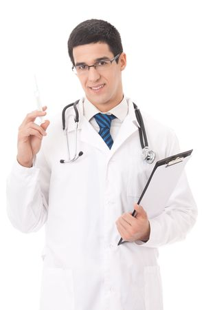 Happy doctor with syringe and clipboard, isolated on white photo