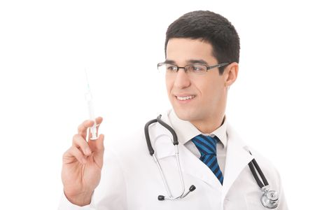 Happy doctor with syringe, isolated on white photo