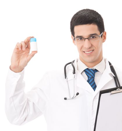 Happy doctor with pill, isolated on white photo
