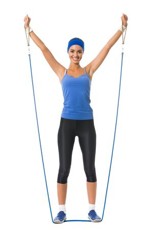 physical training: Young happy woman doing fitness exercises, isolated on white Stock Photo
