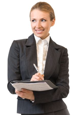 Portrait of smiling businesswoman with pen, isolated on white photo