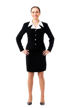 whitebackground: Full-body portrait of businesswoman, isolated on white