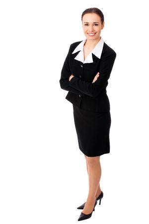 people only: Full-body portrait of businesswoman, isolated on white