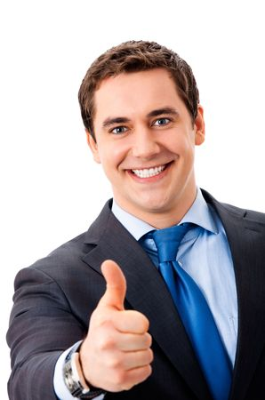 Happy businessman with thumbs up gesture, isolated on white photo