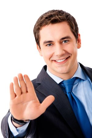 only 1 person: Happy gesturing businessman, isolated on white