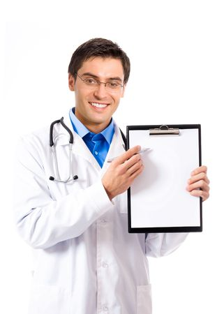 Doctor with pen and clipboard, isolated on white photo