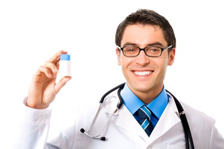 Happy doctor with drug, isolated on white photo