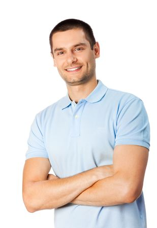Portrait of happy smiling man, isolated on white photo