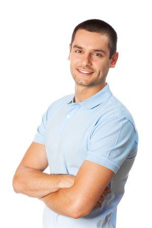 Portret van gelukkig lachende man, geïsoleerd op wit