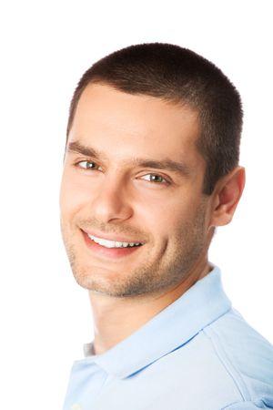 Retrato de hombre sonriente feliz, aislado en blanco  Foto de archivo - 7268971