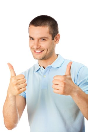 arms up: Happy man with thumbs up gesture, isolated on white Stock Photo