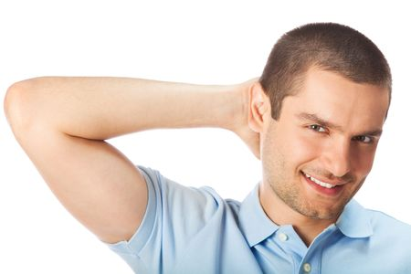 Portrait of happy smiling man, isolated on white Stock Photo - 7269000