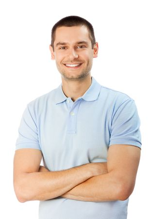 males only: Portrait of happy smiling man, isolated on white Stock Photo