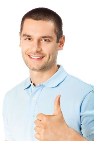 only mid adult men: Happy man with thumbs up gesture, isolated on white Stock Photo