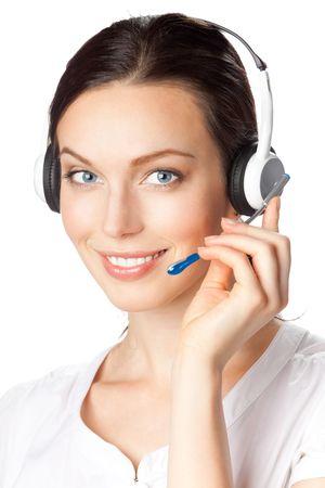 call center agent: Operatore telefonico di supporto auricolare, isolata on white