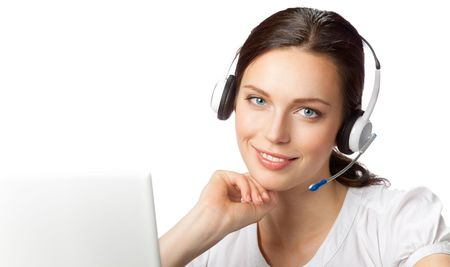 operators: Support phone operator in headset at workplace, isolated on white. To provide maximum quality, I have made this image, by combination of two photos.