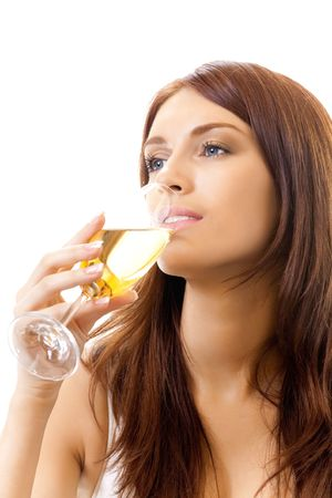 woman drinking wine: Young woman with glass of champagne, isolated on white