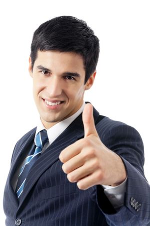 approvement: Happy businessman with thumbs up gesture, isolated on white